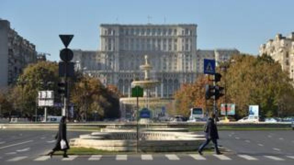 View of the Romanian parliament in the capital, Bucharest