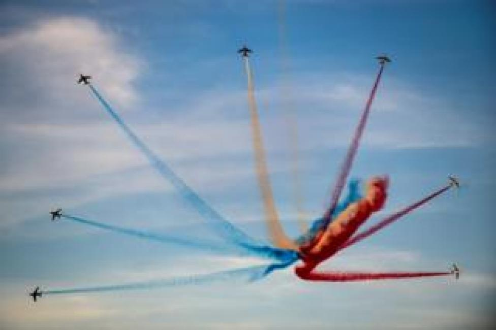 trump French elite acrobatic flying team Patrouille de France perform