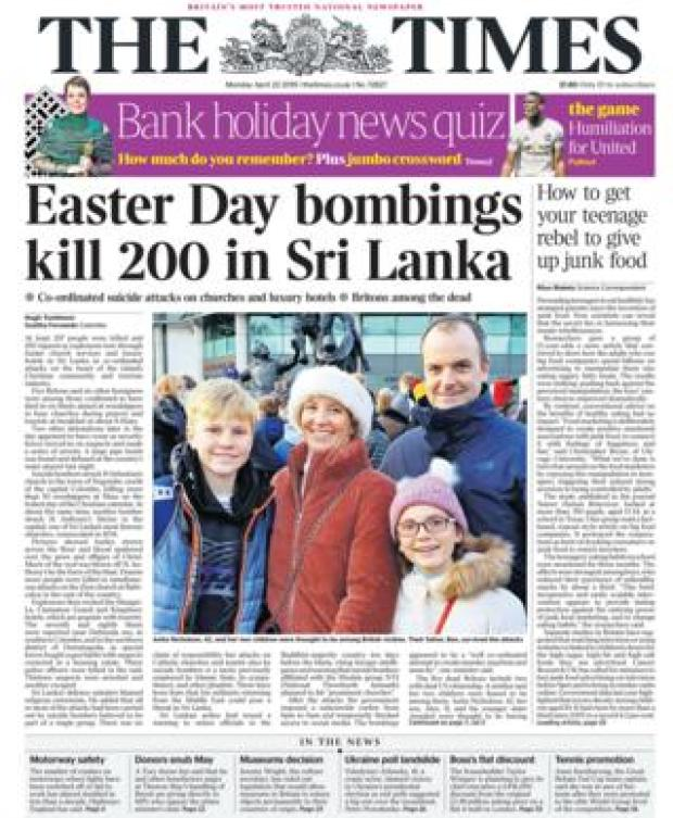 The Times front page 22/04/19