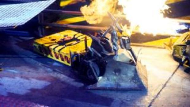 Robot on fire