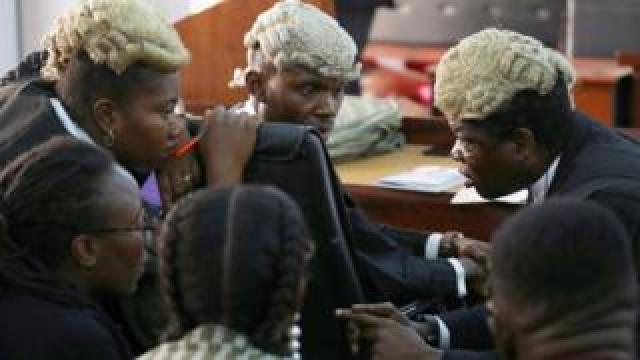 Defence lawyers in a federal high court in Lagos, Nigeria - Tuesday 3 March 2020