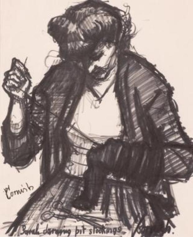 Sarah darning pit stockings, a drawing by Pitmen Painter Norman Cornish