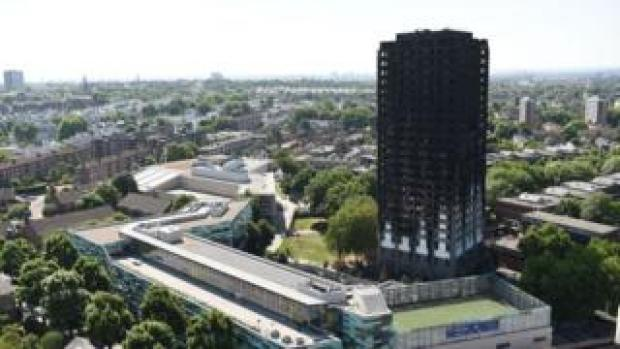 Grenfell Tower three days after the 14 June 2017 fire