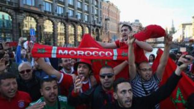 Supporters of Morocco gather in St Petersburg ahead of the 2018 FIFA World Cup on June 13, 2018 in St Petersburg, Russia