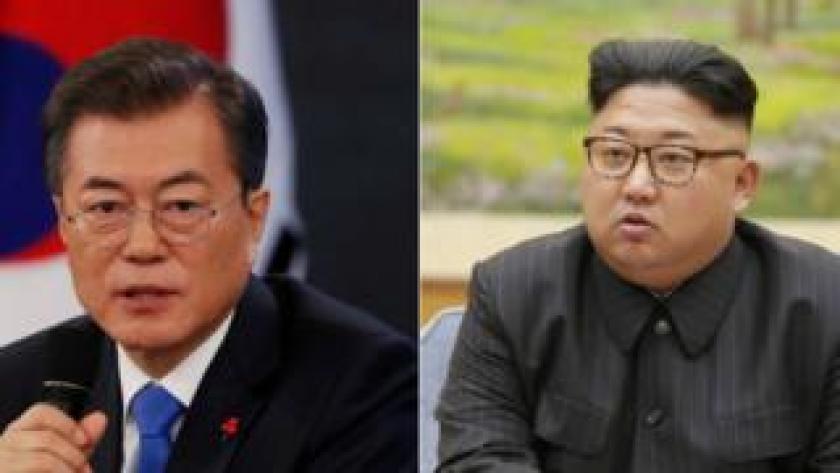 Moon Jae-In y el líder Kim Jong-un.