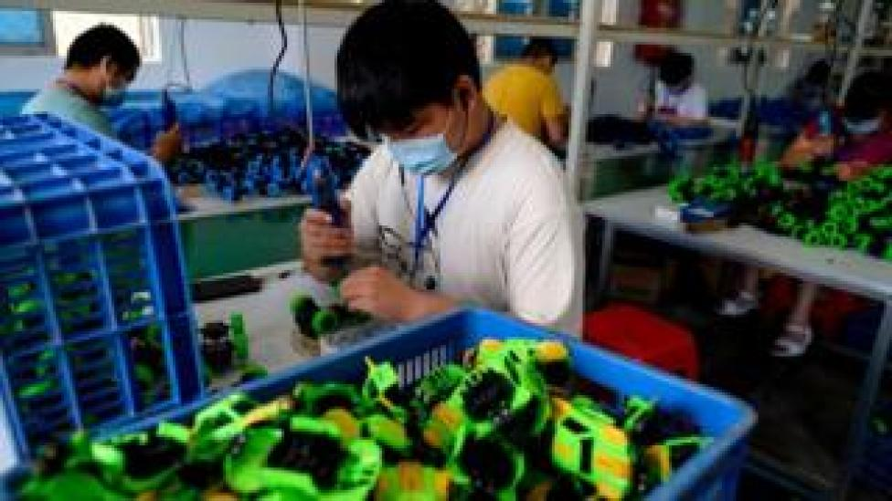 trump Workers assembling toys at the Mendiss toy factory in Shantou, in southern China's Guangdong province.