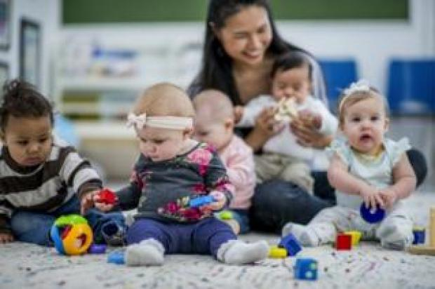 Babies at a childcare nursery