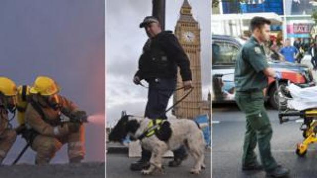 A firefighter, a police officer and a paramedic