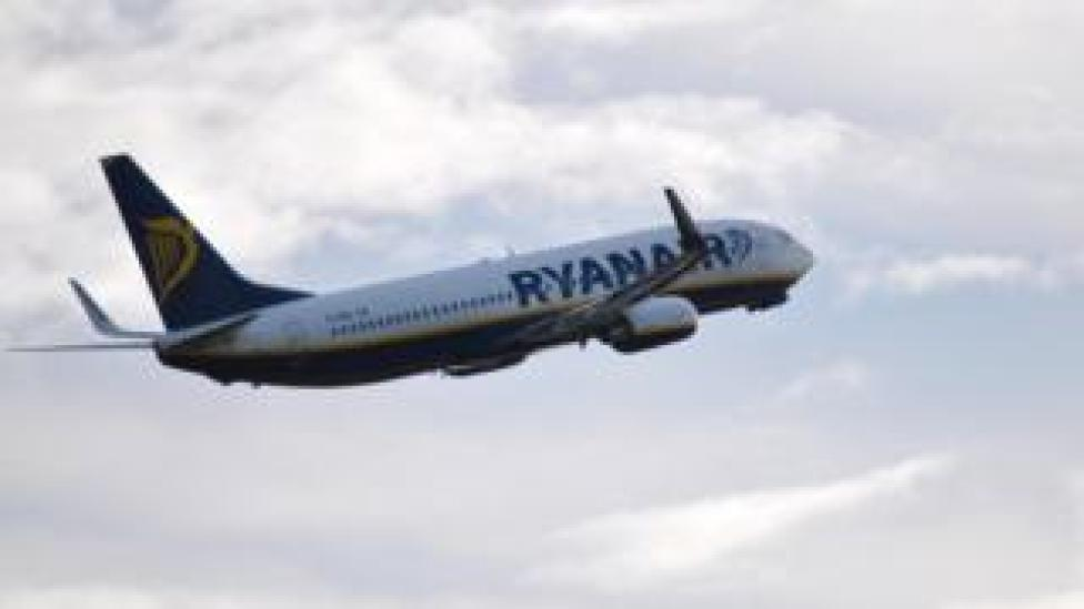 A Ryanair Boeing 737-8AS during takeoff / landing at Manchester International Airport.