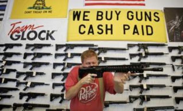 Man at gun shop