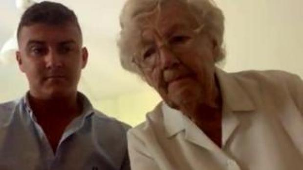 Thomas Cook passenger Mary Nicholls, (right) with her grandson, Matt Walker