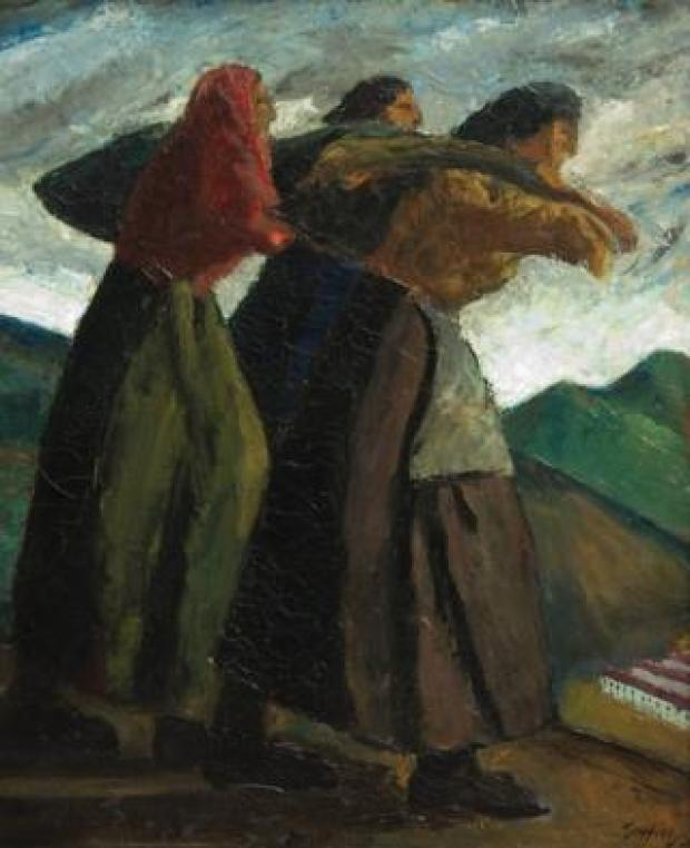 Oil painting of three women carrying sacks by Welshmen Archie Rhys Griffiths
