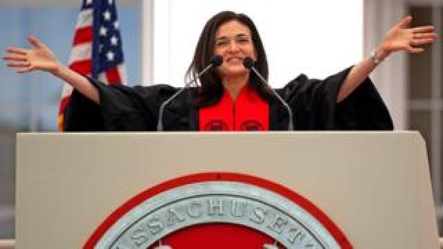 Facebook Chief Operating Officer Sheryl Sandberg gives the commencement address at the 2018 Massachusetts Institute of Technology commencement in Cambridge, MA on June 8, 2018