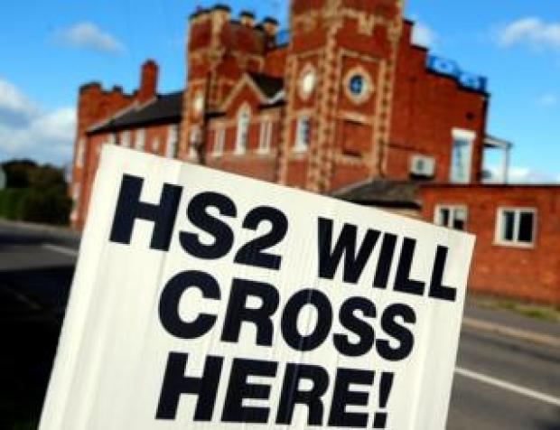 A sign saying HS2 will cross here in Staffordshire