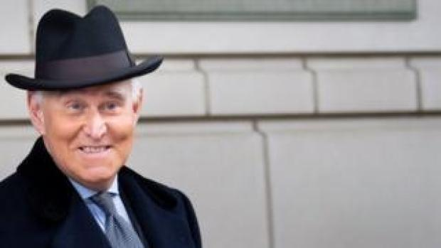 Roger Stone leaves his sentencing hearing in February