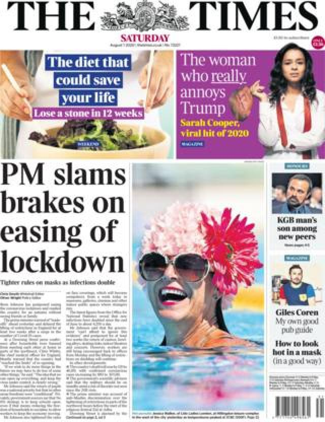 The Times front page 1 August