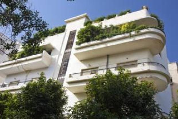 View at original Bauhaus building, Emile Zola Street, Tel Aviv, Israel, Middle East