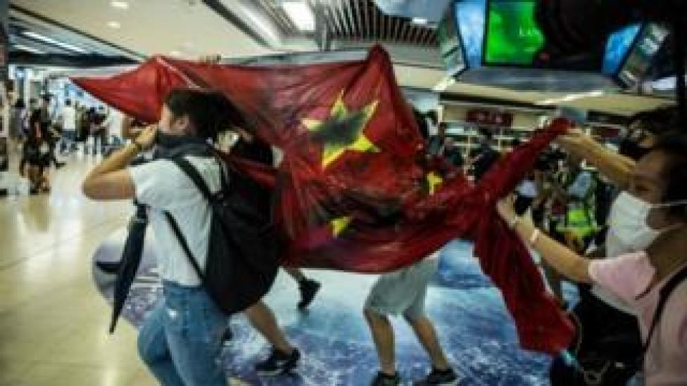 Chinese flag desecrated in Hong Kong