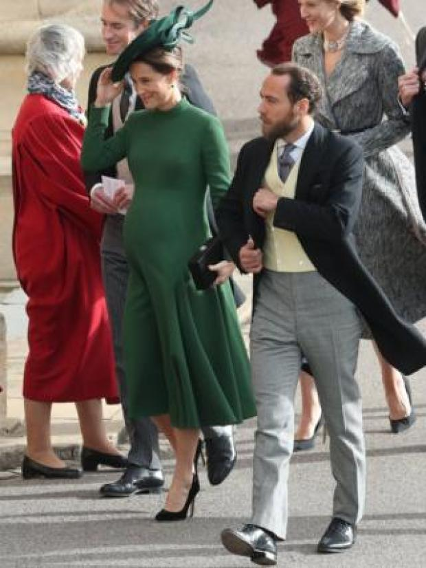 """Pippa and James Matthews arrive for the wedding of Princess Eugenie to Jack Brooksbank at St George""""s Chapel in Windsor Castle"""
