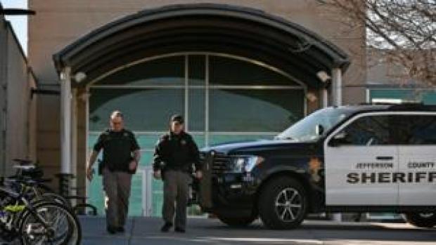 Jefferson County Sheriff vehicle outside Columbine high school, December 2018