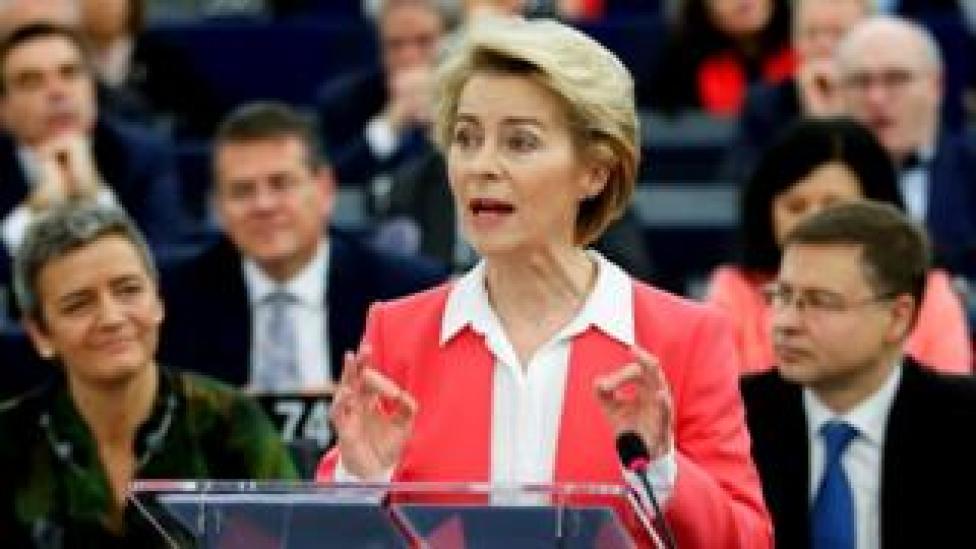 European Commission President-elect Ursula von der Leyen addresses the European Parliament in Strasbourg, 27 November 2019