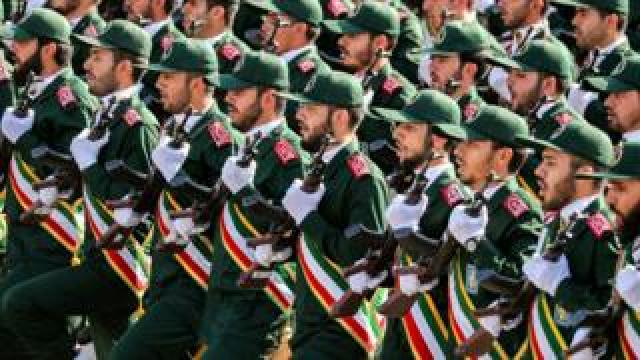 File photo of Iranian Revolutionary Guards personnel at a military parade in Tehran on 22 September 2018