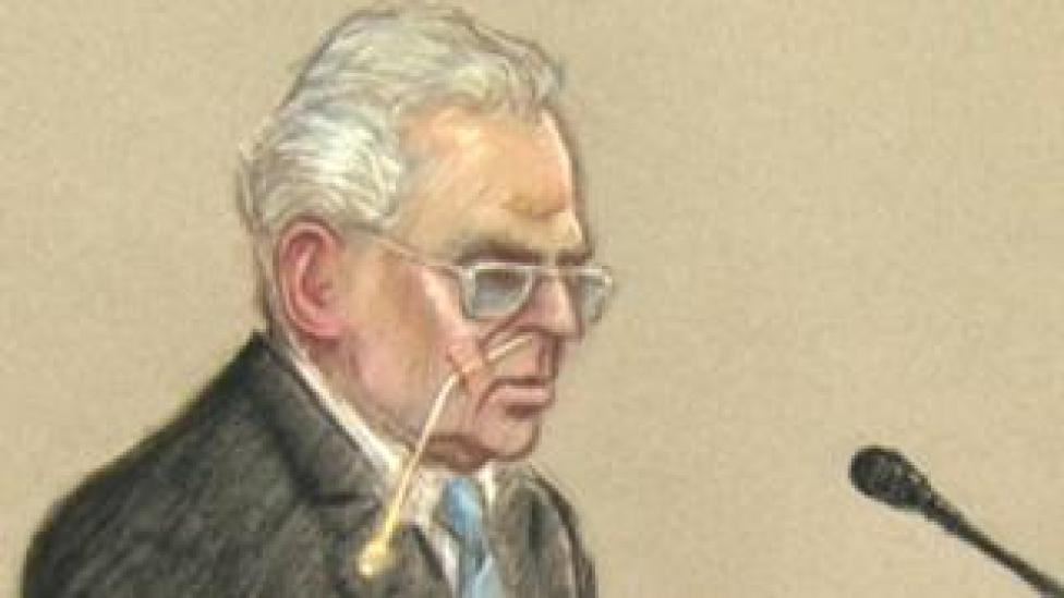 Court drawing of Moors Murderer Ian Brady appearing at a mental health tribunal at Ashworth high-security psychiatric hospital in Maghull, Merseyside, 25/06/2013.