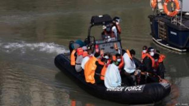Migrants on a Border Force dinghy