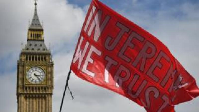 Corbyn flag at Westminster