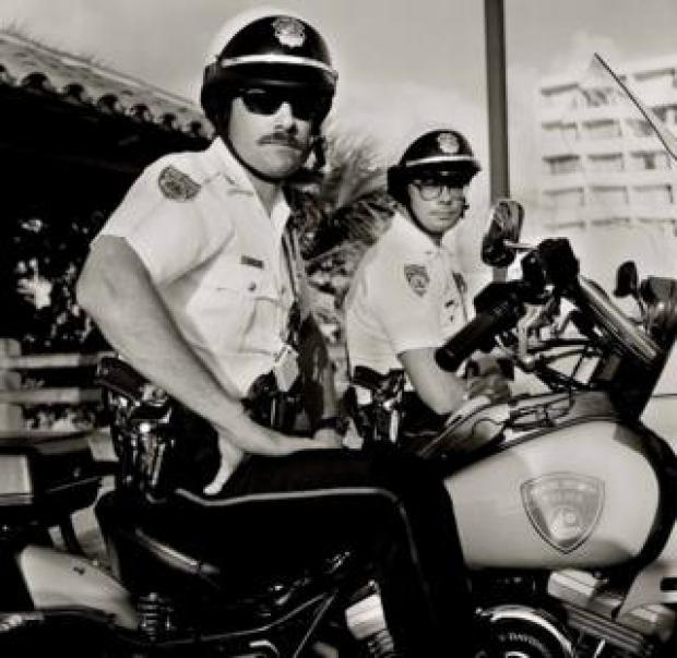 Two policemen on motorbikes in Miami Beach