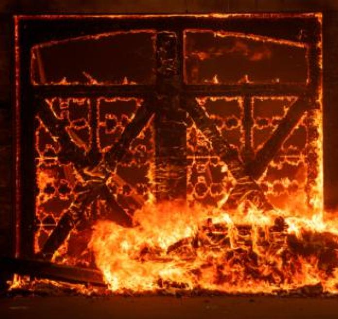 A garage on fire