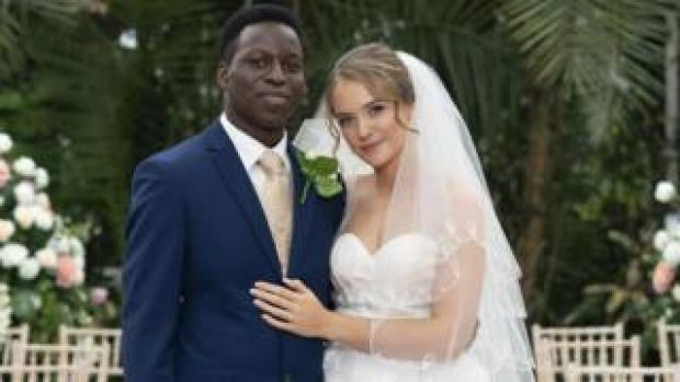 Toheeb Jimoh as Anthony Walker and Julia Brown as wife Katherine in Anthony