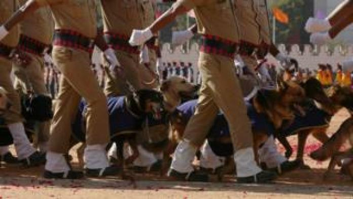 India's Security Forces' Dog Squad marches during the 71st Republic Day celebrations in Bangalore, India, 26 January 2020.