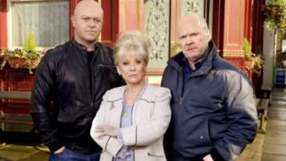 Dame Barbara Windsor with Ross Kemp and Steve McFadden