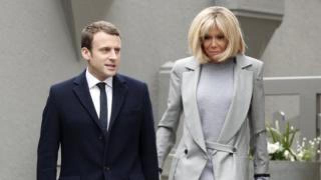 French President Emmanuel Macron and his wife Brigitte Macron