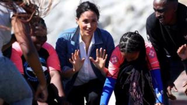 The Duchess of Sussex, Meghan, meets with members of the NGO Waves for Change
