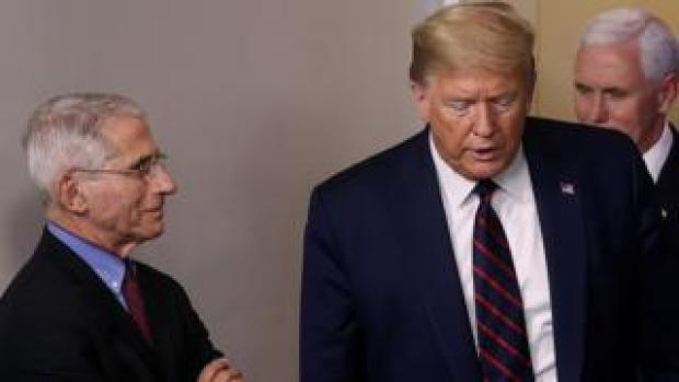Dr Anthony Fauci pictured with President Donald Trump
