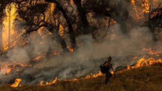 A firefighter battles the Kincade Fire in California on 26 October, 2019