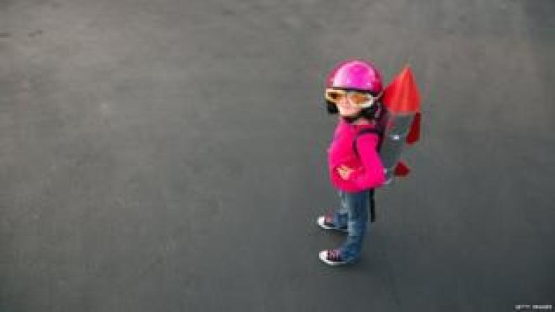 Girl in rocket suit