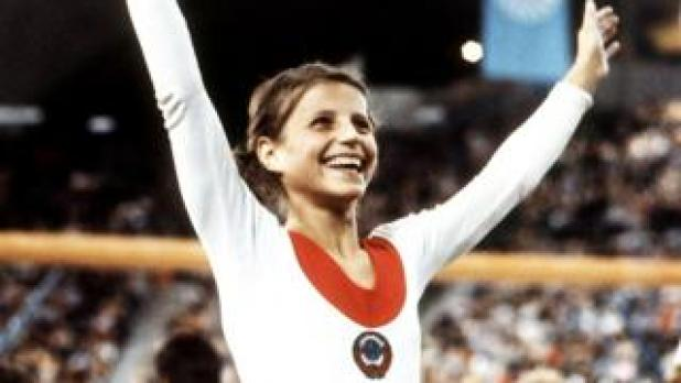 Olga Korbut after winning gold at 1972 Munich Olympics