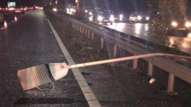 fallen motorway light