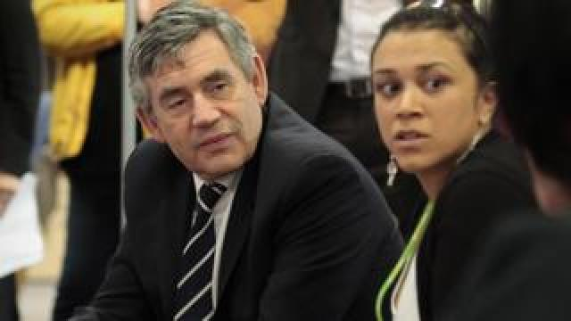 Gordon Brown on a visit to a Job Centre in 2009