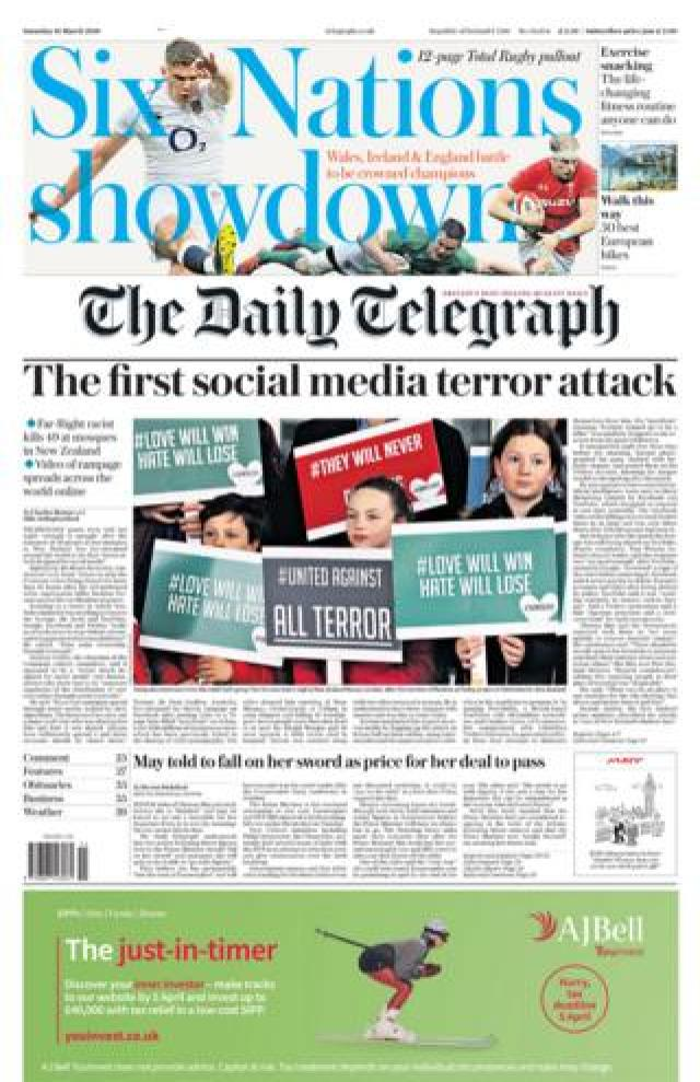 The Daily Telegraph front page
