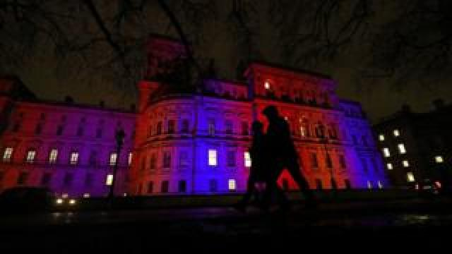 The Foreign and Commonwealth Office is also lit up in red, white and blue.