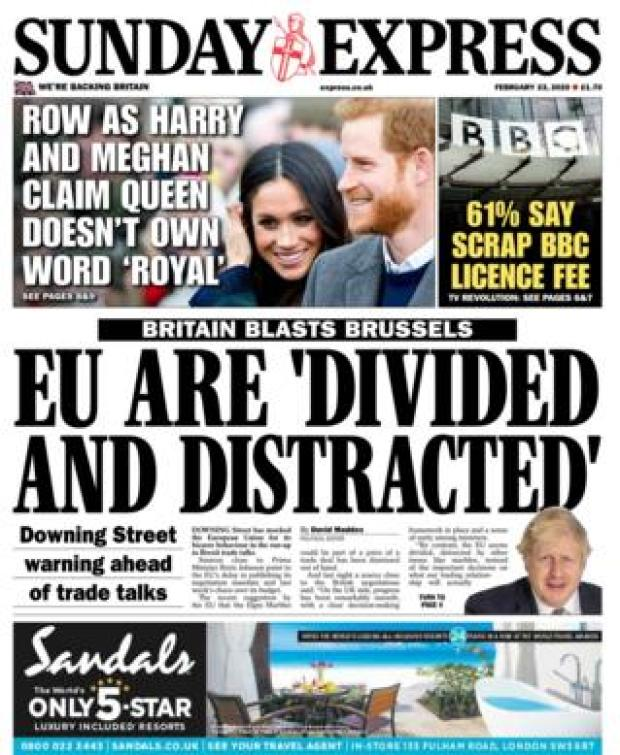 Front page of the Sunday Express