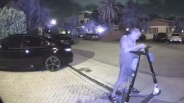 Police surveillance footage of the suspect appearing to tamper with scooters