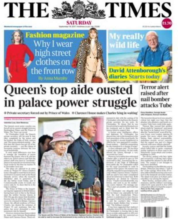 The Times front page 16/09/2017