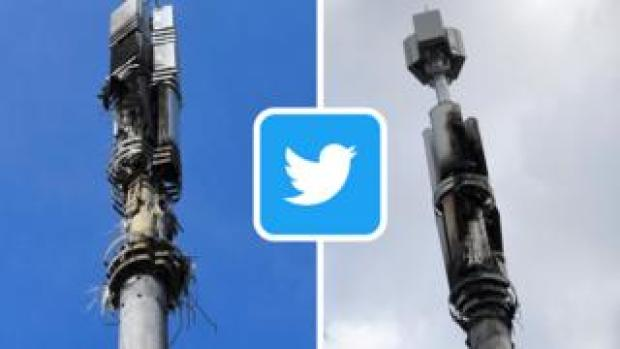 Two mobile phone masts that have been damaged by fire