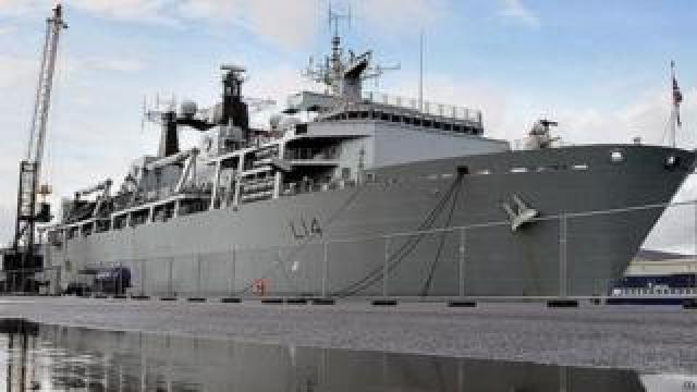 HMS Albion in dock in Belfast
