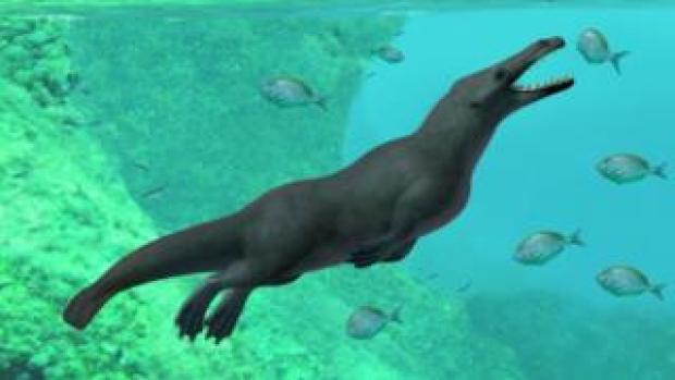 Artist's impression of early whale by A Gennari